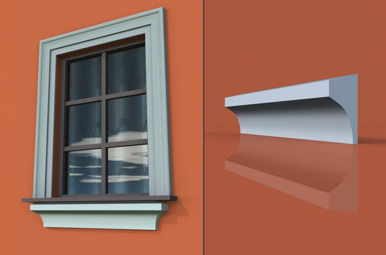 wzór 8 profilu fasadowego parapetu